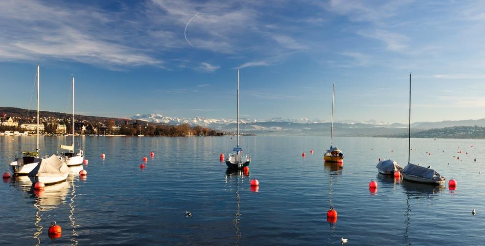 Schiffe und Boien auf dem Zürichsee. Im Hintergrund das Bergpanorama.